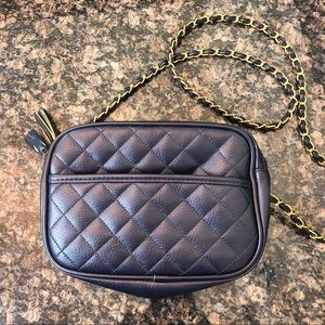 Braciano Navy Quilted Crossbody Bag